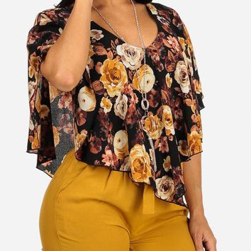 Black and Yellow Floral Top W Necklace
