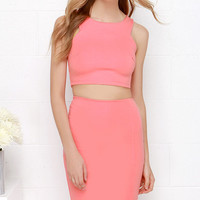 Double Entendre Coral Two-Piece Dress