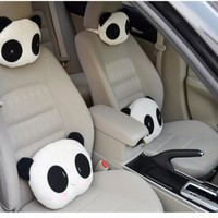 FUNIQUE 1Pc Car Seat Covers Neckpillow Car Interior Accessories Universal Car Styling Headrest Car Pillows Lovely Panda Pattern