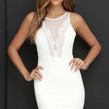 Coquina Ivory Lace Bodycon Dress