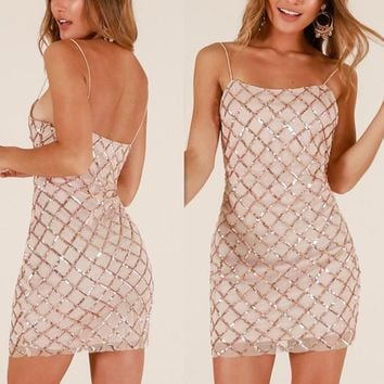 Fashionable new sequins, suspenders, backless dresses, skirts and dresses
