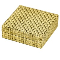 Vintage Square Woven Pillbox in 18k Yellow Gold