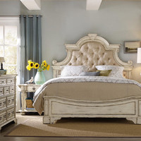 Seal Cove Queen Size Distressed White Upholstered Bed