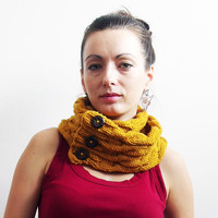 Mustard knit scarf, circle scarf, knit winter scarf, knit infinity scarf, loop scarf, warm winter scarf, knit chunky scarf, cowl scarf