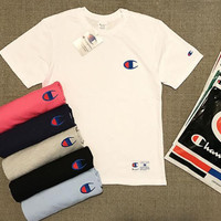 champion embroidery Multicolored cotton men and women round neck t-shirts top
