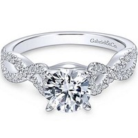 "Gabriel ""Kayla"" Twist Diamond Engagement Ring"
