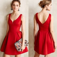 Summer Dress Pleated Backless Vestidos V_Neck Sleeveless Sexy Women Dress Red Solid Vintage Evening Party Dresses 2016 Fashion