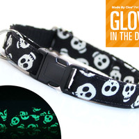 "Cat Collar - ""Skeleton Dance"" - Glow in the Dark Skulls"