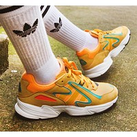Adidas /YUNG-96 CHASM  Falcon Fashion New Women Men Running Leisure Shoes Yellow
