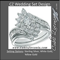 CZ Wedding Set, Style 11-55 feat The Amanda Engagement Ring (Marquise Bypass Cluster)