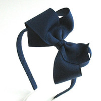 Navy Blue Bow Headband For Girls, Navy Bow on Hard Headband, Back to School, School Uniform, Preppy Girl Hair Accessories, Big Girl Headband