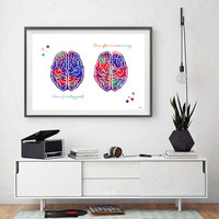 Brain functions watercolor print Brain after sitting quietly Brain after 20 minute running poster brain functions medical art brain wall art