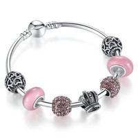 Queen of Hearts Pink Crystal Silver Bangle Bracelet for Woman