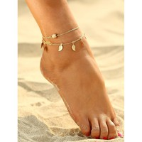 Metal Leaf Decorated Chain Anklet