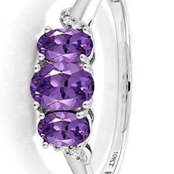 CERTIFIED 0.78 Ct 10K White Gold Purple Amethyst 3-Stone Ring With Accent Diamond