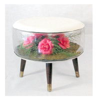 Rare Inflatable Terrarium Footstool Ottoman - Mid Century Modern Kitsch at It's Finest, Roses, Flowers, Pink and Green