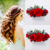 Red hair flowers Bridal red flower Bridal red comb Bridal Hairpiece  red flower comb Red Silk flower  bridal flower red flower clip etsy