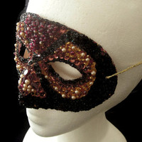 Pumpkin Orange and Black Hand Beaded Masquerade Mask with Salvaged Vintage Genuine Garnet, Faux Pearl, and Glass Beads, Free US Shipping