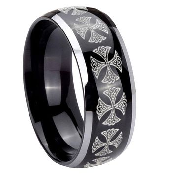 8mm Medieval Cross Dome Glossy Black 2 Tone Tungsten Mens Wedding Ring