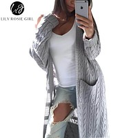 Lily Rosie Girl White Casual Long Cardigans Women V Neck Knitted Autumn Winter Sweaters Double Pocket Gray Open Stitch Sweater