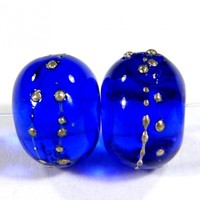 Transparent Intense Blue Handmade Lampwork Glass Beads 057 Shiny (Choices of Etched, .999 Fine Silver, Shapes, Sizes, Large Hole Beads Extra)