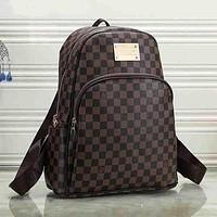 LV Louis Vuitton Women Fashion Leather Backpack Rucksack College Bookbag