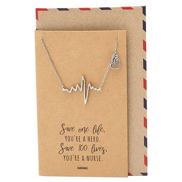 Davina ECG with Heart Shape and Heart Bar Charms, Gift for Women, Gift for Nurses with Greeting Card