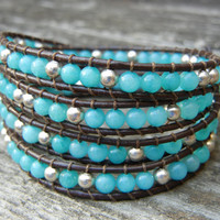Beaded Leather Wrap Bracelet 4 Wrap with Southwestern Turquoise and Silver Beads on Brown Leather