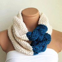 Indigo Scarf - hand knit woven cotton, Chunky Cowl, Cream Teal blue Infinity Scarf Knitted Chunky Scarf, Woman Accessory, Gift For Her, Cozy