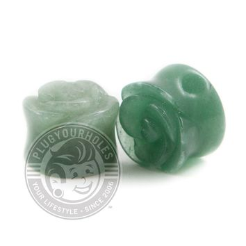 Green Aventurine Rose Cut Stone Plugs