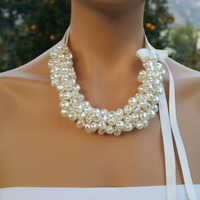 Bridal Accessory, Ivory Pearl Ribbon Necklace, Weddings, Bridesmaids gifts.