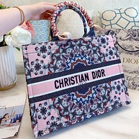 Dior Fashion New Floral Letter Print Canvas Shoulder Bag Handbag