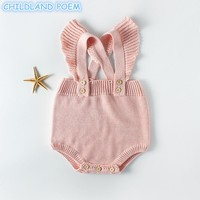 Sping Winter Baby Clothes Baby Knit Romper For Girls Newborn Baby Girls Romper Ruffle Princess Toddler Jumpsuits Baby Overalls