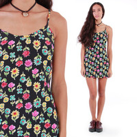 90s Floral Mini Dress Neon Short Black Summer Hipster Grunge 1990's Vintage Clothing Womens Size Small Medium