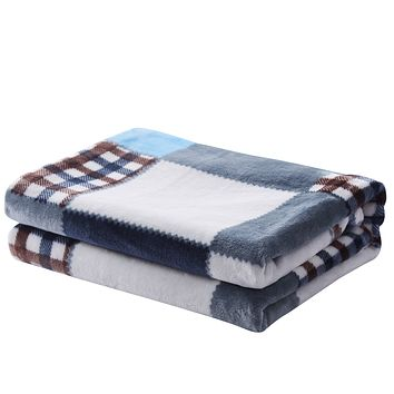 Tache Blue Lake Farmhouse Super Soft Plaid Patchwork Throw Blanket (4024)