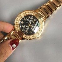 GUESS Fashion new diamond round edge black dial women and men watch Rose golden