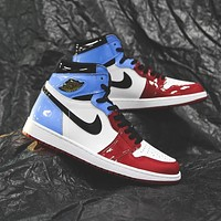 Bunchsun Air Jordan 1 red and blue colorblock patent leather high-top sneakers basketball shoes