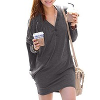 Allegra K Lady Batwing Sleeve Button Decor V Neck Tunic Blouse Dark Gray - Also in Black