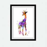 Giraffe watercolor print Giraffe poster Animal colorful print African animal poster Home decoration Kids room wall art Nursery decor W576