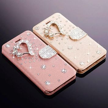 3D Crystal Rhinestone Flip Phone Case Card Holder for iPhone 7 7 Plus 5S SE
