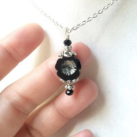 Black Czech Glass Flower And Crystal Pendant Adjustable Silver Neo Victorian Necklace, Gifts For Her