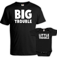 Matching Father Son Shirts Daddy And Me Outfits Father Daughter Matching Shirts Dad Gifts Big Trouble Little Trouble Bodysuit MAT-752-753