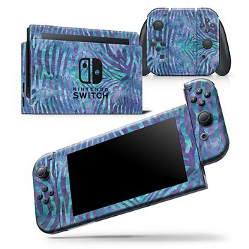 Blue and Purple Watercolor Zebra Pattern - Skin Wrap Decal for Nintendo Switch Lite Console & Dock - 3DS XL - 2DS - Pro - DSi - Wii - Joy-Con Gaming Controller