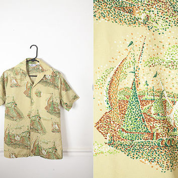Mens Psychedelic 70s Shirt / Vintage 70s Sailboat Print Button Down / 1970s Short Sleeve Oxford / Nautical Button Up Retro Shirt