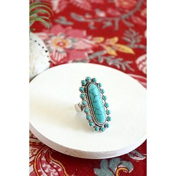 Navajo Concho Inspired Statement Ring in Turquoise