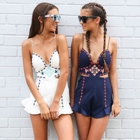2017 Summer Embroidery Backless Romper [11607367823]