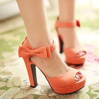 Bow Ankle Straps Platform Sandals Chunky Pumps Heel Shoes 6049