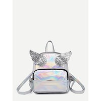Angel Wings Decor Backpack Silver