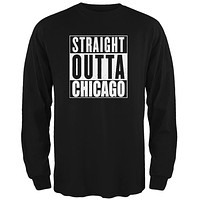Straight Outta Chicago Black Adult Long Sleeve T-Shirt