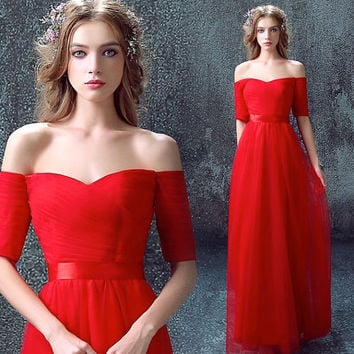 Elegant Red Dress/ Red wedding Dress/Red Prom dress/Bridal Wedding Party Dress,Bridal Prom/ Bridesmaid Dress